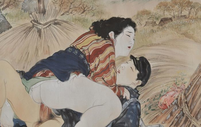 Takeuchi Seiho: detail of a chubby girl and secret lover in a rice field