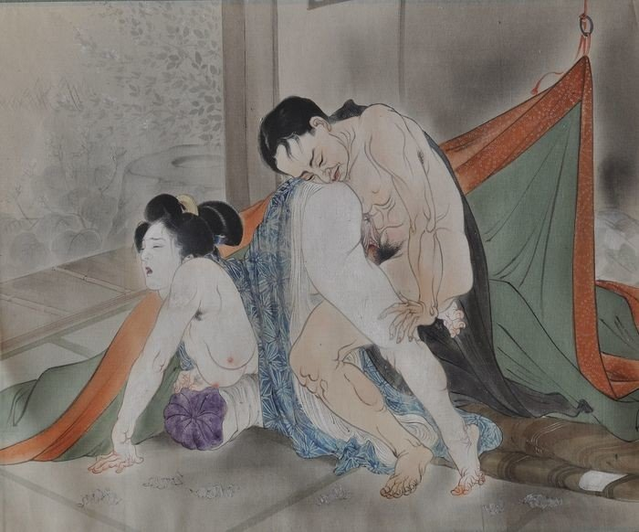 Takeuchi Seiho: sensual couple with loosened mosquito-netting