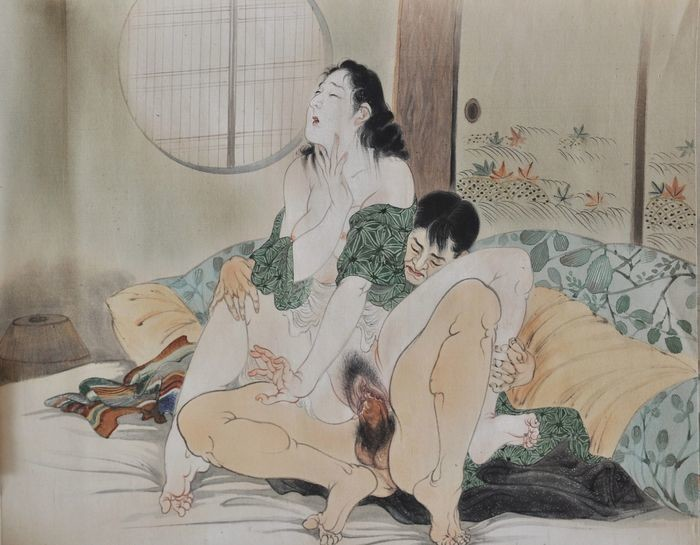 Takeuchi Seiho: shunga painting depicting a mature female and young lover