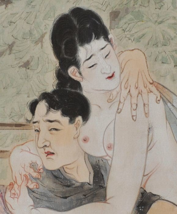 Takeuchi Seiho: nude female sitting on the lap of her lover with one of her breasts rubbing his ear