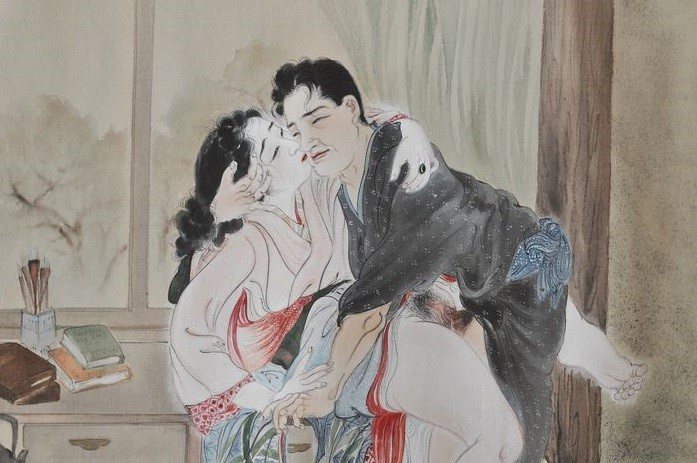 Takeuchi Seiho: close up painting with an intimate couple having an impulsive encounter on a dresser