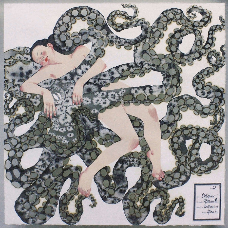 tentacle erotica: 'Kakémono N°7 Octopus' (2016) by Mme S