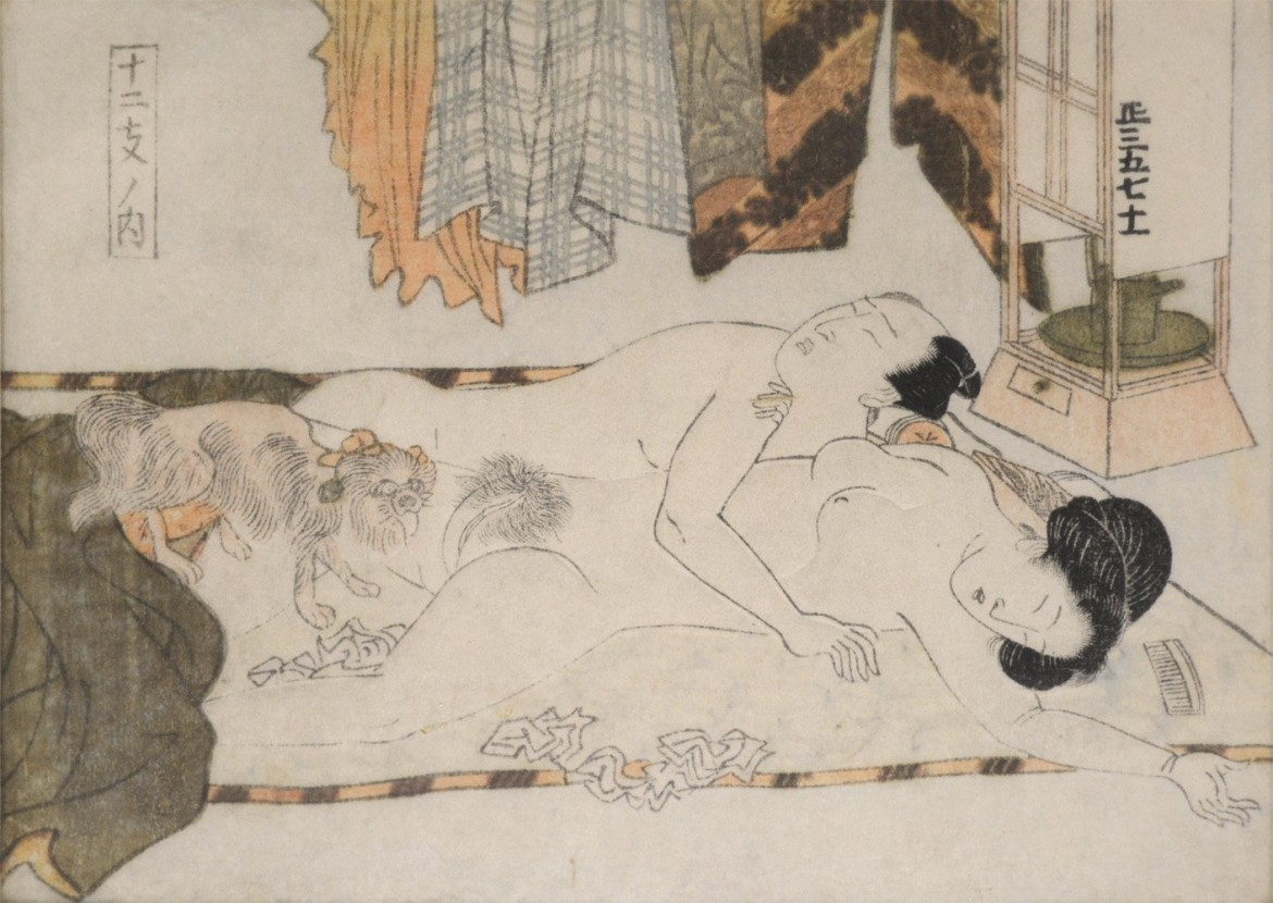 Shunga with sleeping couple and horny dog by Keisai Eisen
