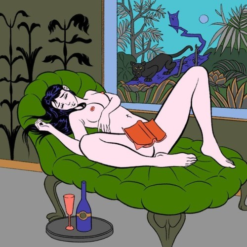Nude female lying on a green sofa by Pigo Lin