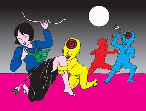 Toshio Saeki: girl holding a crossbow shooting at colored male figures with target boards on their foreheads