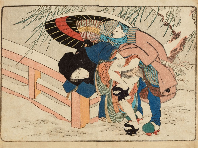 shunga images winter four seasons Kunisada