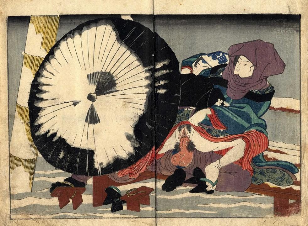shunga images: winter scene by Kunisada