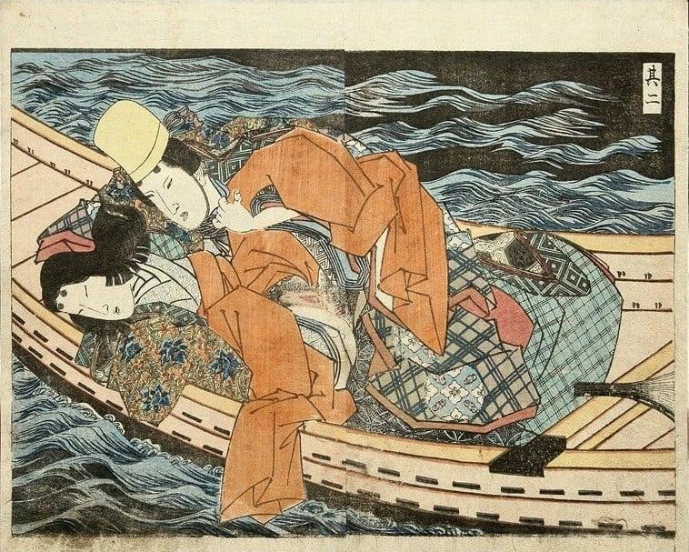 pleasure boat: Noble couple making love on a boat by Utagawa Kuniyoshi