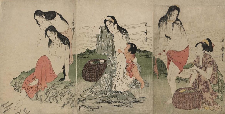awabi divers triptych Utamaro