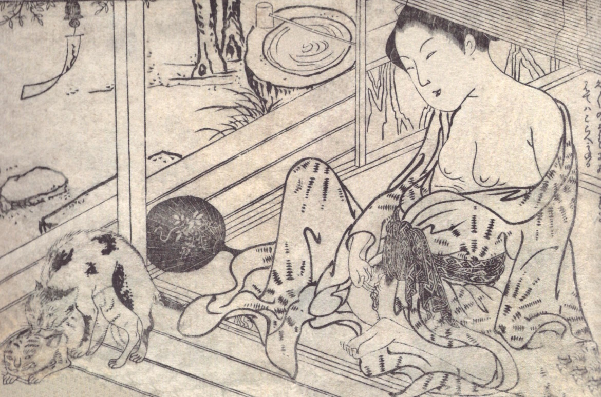 'Aroused female watching two copulating cats. In the background stands a stone water basin with a wooden scoop lying on top of it' (c.1765) from the series 'Ehon haru no yume' by Kikukawa Hidenobu