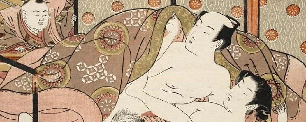 Isoda Koryusai's 'Peeking Infant Surprising His Copulating Sister' Design
