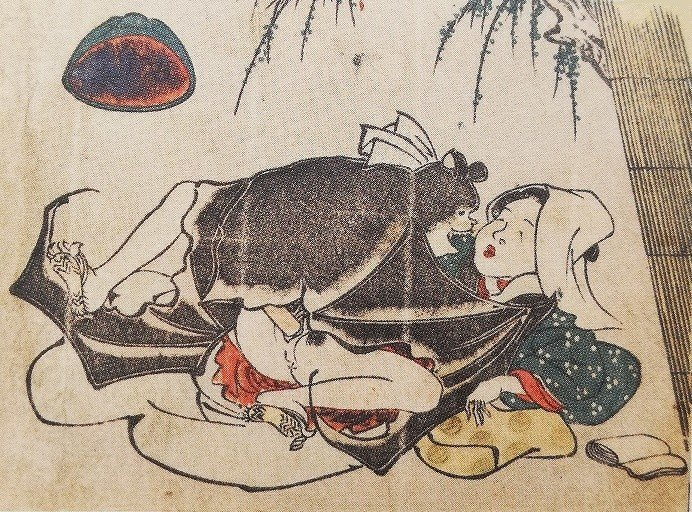 utagawa toyokuni : Bat and female
