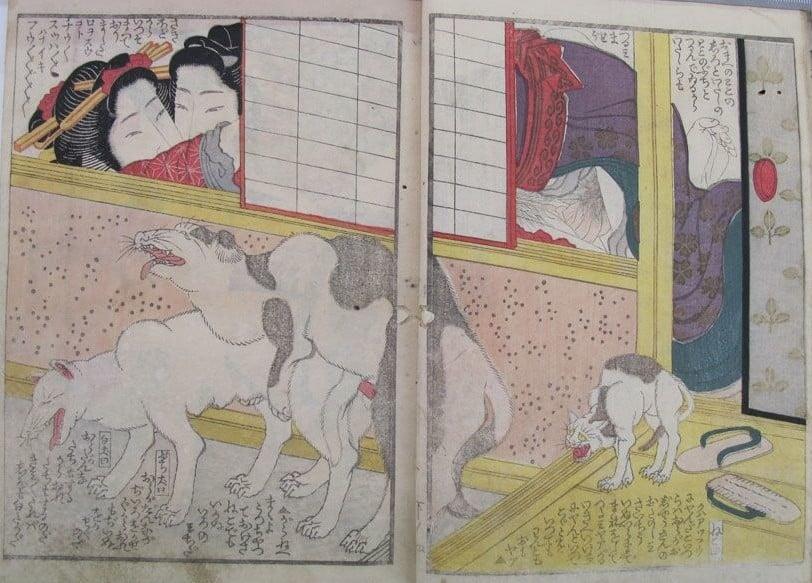 Yashima Gakutei: intimate couple with copulating dogs and agitated cat