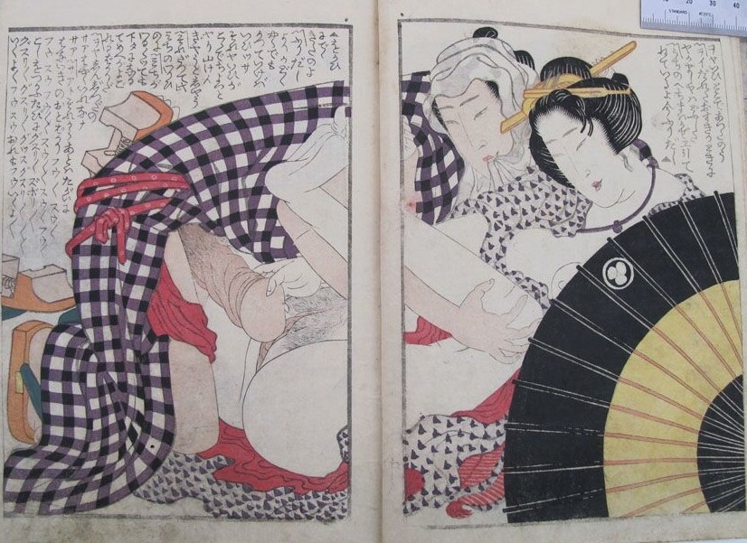 Yashima Gakutei: a classical Hokusi composition with an intimate couple taking shelter behind an umbrella in the open-air. A striking detail is the male passionately biting in his cap (in most cases it is the female protagonist ho does this!). The female gently directs his penis to her private area