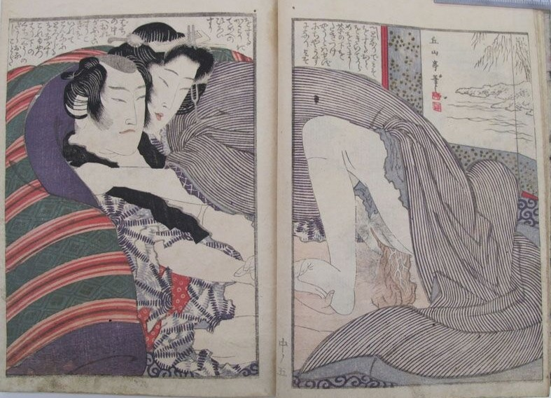 Yashima Gakutei: A middle-aged couple set in a relaxed sensual pose. The male has striking sideburns