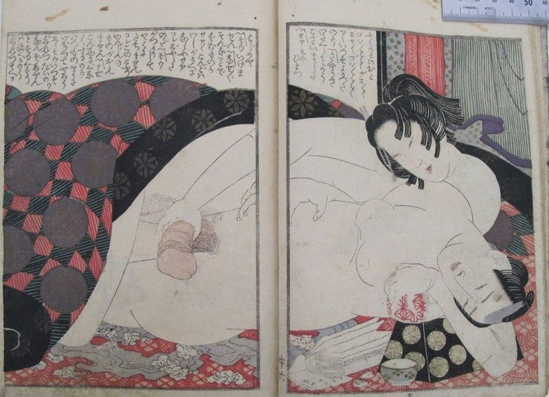 Yashima Gakutei: young voracious female is holding the phallus of a drained middle-aged male who is leaning on a headrest