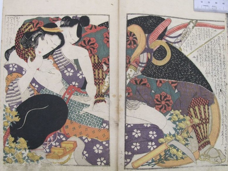 Yashima Gakutei: Heavily armed archer brutally grabs his lover. The latter pulls the string of her kimono in order to offer him her lower body