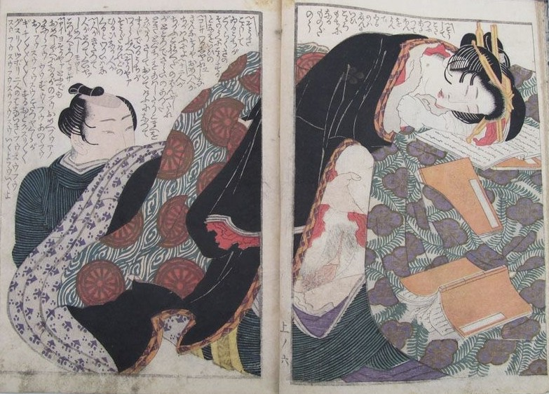 Yashima Gakutei: The courtesan - sitting underneath a kotatsu brazier - was reading some ehon (books) before she was interrupted by her aroused lover