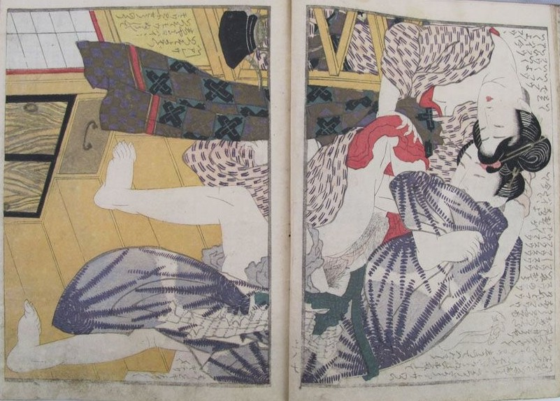 Yashima Gakutei: A deviating vertical design depicting a passionate quickie on a staircase.