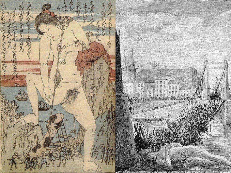 max ernst collage: kuniyoshi parody gulliver's travels jonathan swift