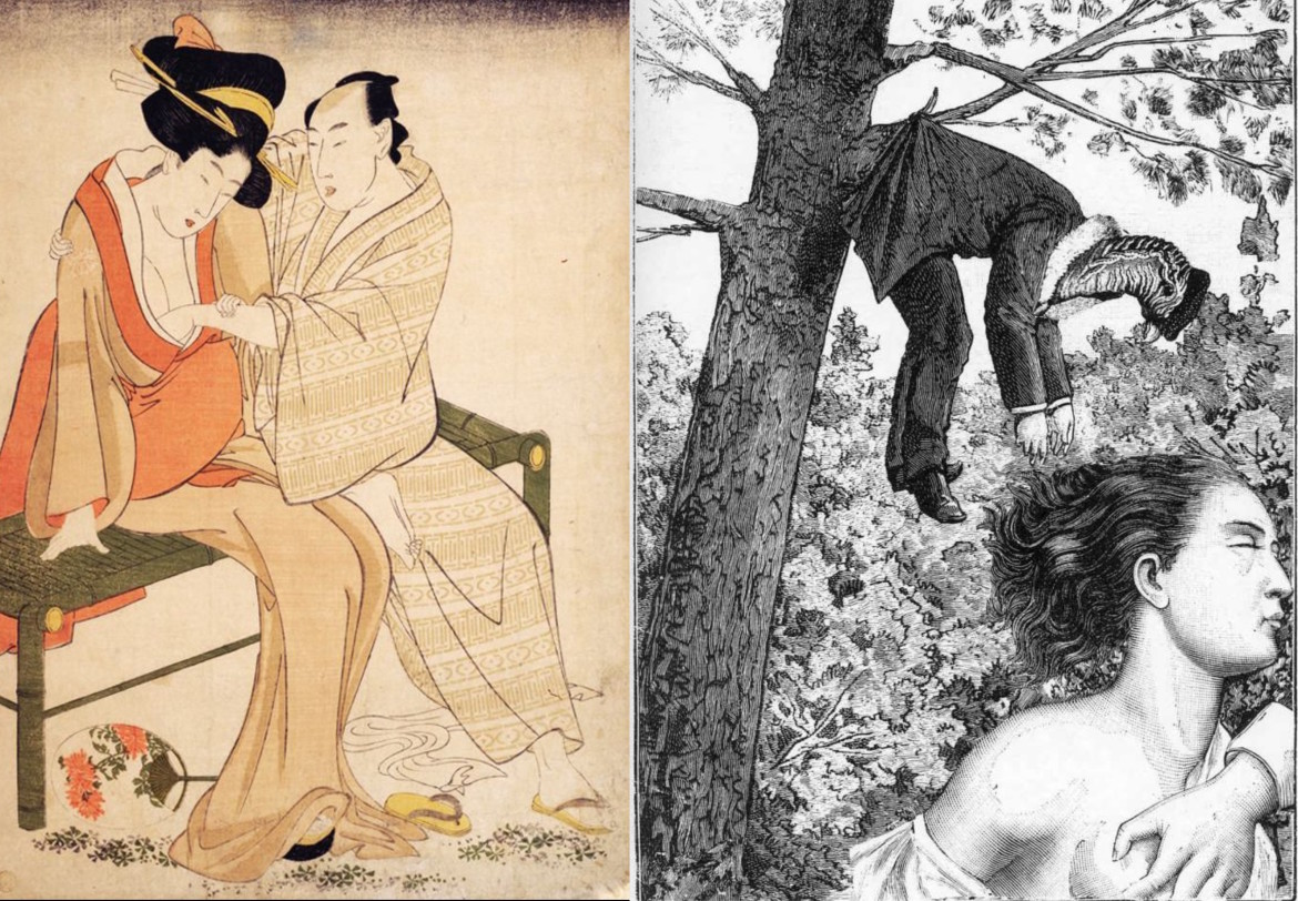 max ernst collage: touching breast while sitting on a bench outside by Utamaro - a week of kindness