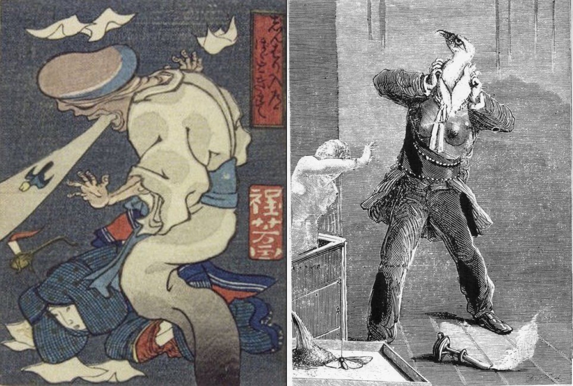 max ernst collage: phallus-headed ghost by Kuniyoshi - eagle-headed male and ghost