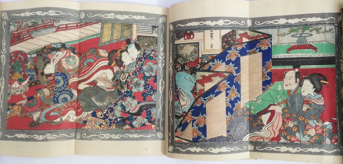 Ashikaga Yoshimitsu: The consecutive fold-out scene (when Fig.7 is unfolded) displays our hero having sex with the two geisha.