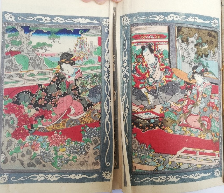 Ashikaga Yoshimitsu: An innocent scene with Ashikaga Yoshimitsu and two young geisha relaxing on a roof terrace