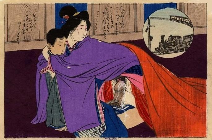 train prints: 'Intimate couple at the train station' (c.1900) attrib. to Tomioka Eisen