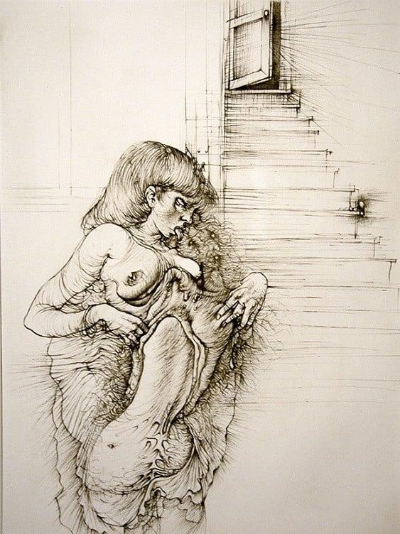 Copper engraving 'Double Sexus: Cécile Reims-Deaux, Rose opens the night (1945)