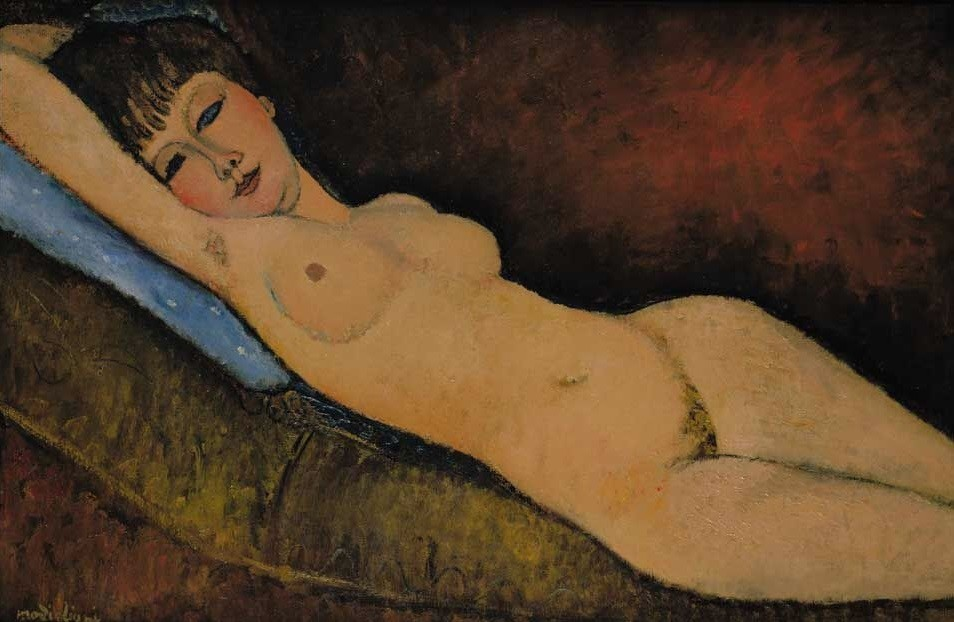 Nu Couché au coussin Bleu (1916) by Amedeo Modigliani,