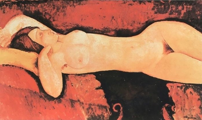 Modigliani sensuality: Lithograph 'Nu couché'(published posthumously) by Amedeo Modigliani