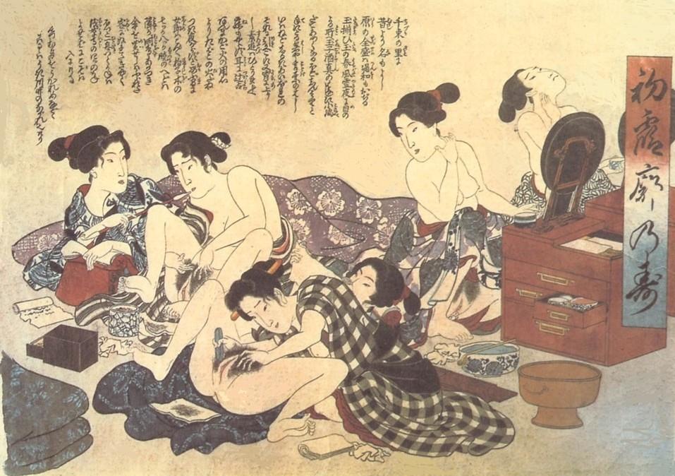 erotic grooming: grooming geisha by Keisai Eisen