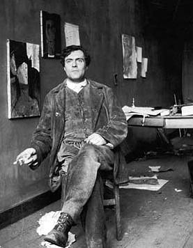 Modigliani sensual: Picture of Modigliani in his atelier