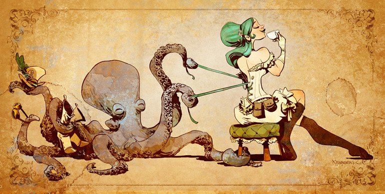 tentacle erotica: Otto lacing up' by Brian Kesinger