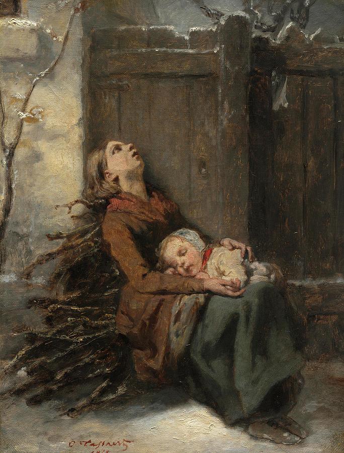 Octave Tassaert: Destitute Dead Mother Holding Her Sleeping Child in Winter;