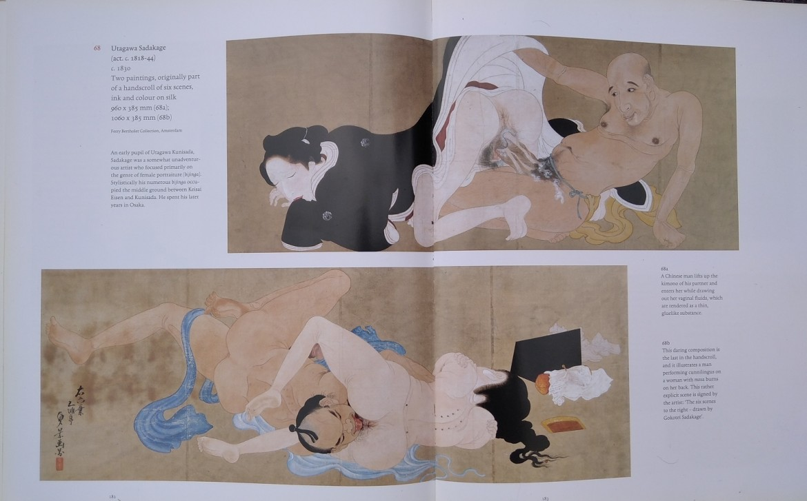 Utagawa Sadakage: shunga scroll painting as depicted in the book Japanese Erotic Fantasies: Sexual Imagery in the Edo Period'