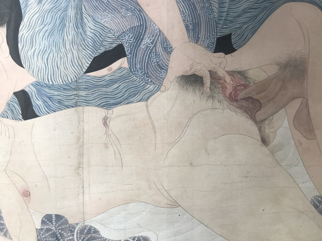 Utagawa Sadakage: shunga scroll with intercourse close up with the male lover caressing the vagina