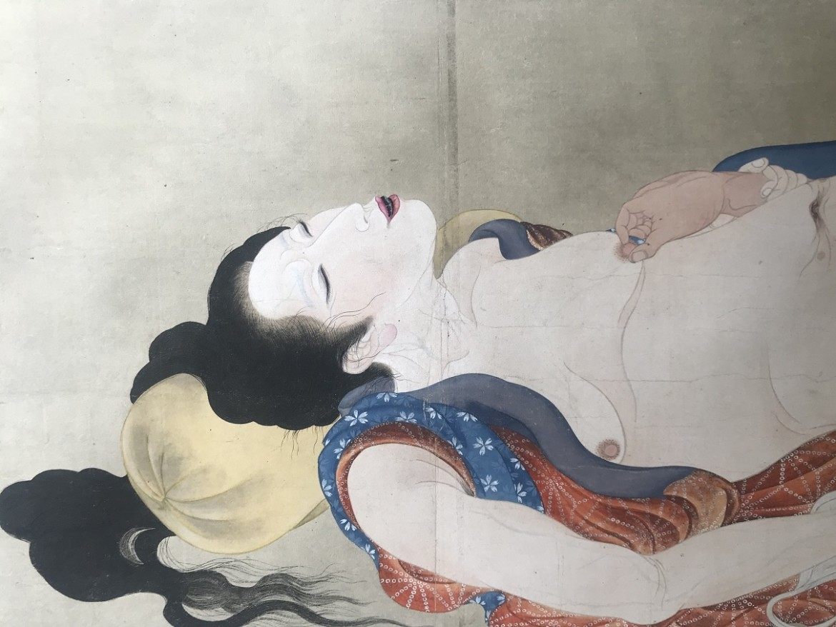 Utagawa Sadakage: shunga scroll with aroused female resting on a pillow