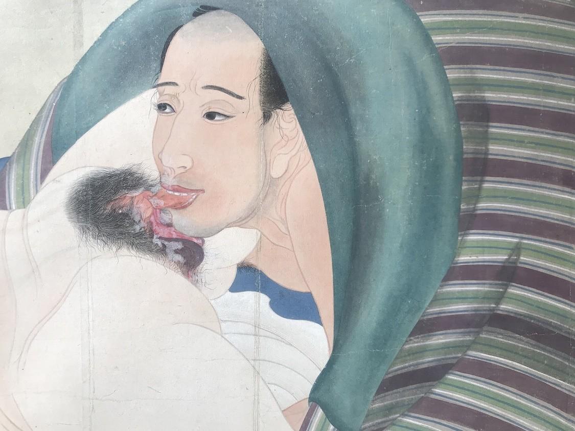 Utagawa Sadakage: shunga scroll with male performing oral sex