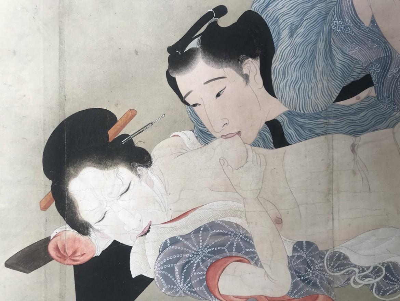Utagawa Sadakage: shunga scroll with male sucking one his lover's nipples
