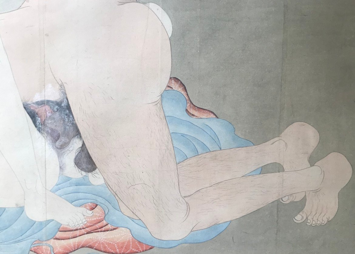 Utagawa Sadakage: shunga scroll with intercourse close up