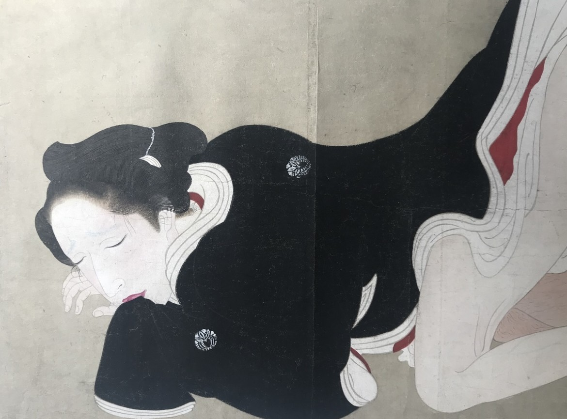 Utagawa Sadakage: shunga scroll detail ecstatic female biting her sleeve