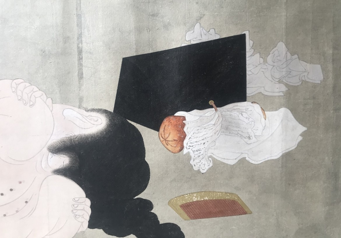 Utagawa Sadakage: shunga scroll detail female and geisha pillow