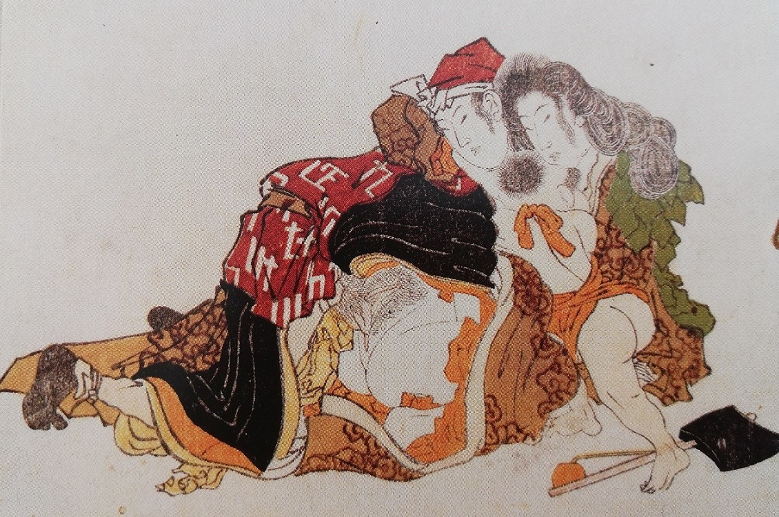 egoyomi by Hokusai with Yamuaba and her secret lover and her son Kintaro