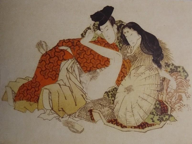 egoyomi by Hokusai with Minamoto no Yoshitomo and Tokiwa Gozen