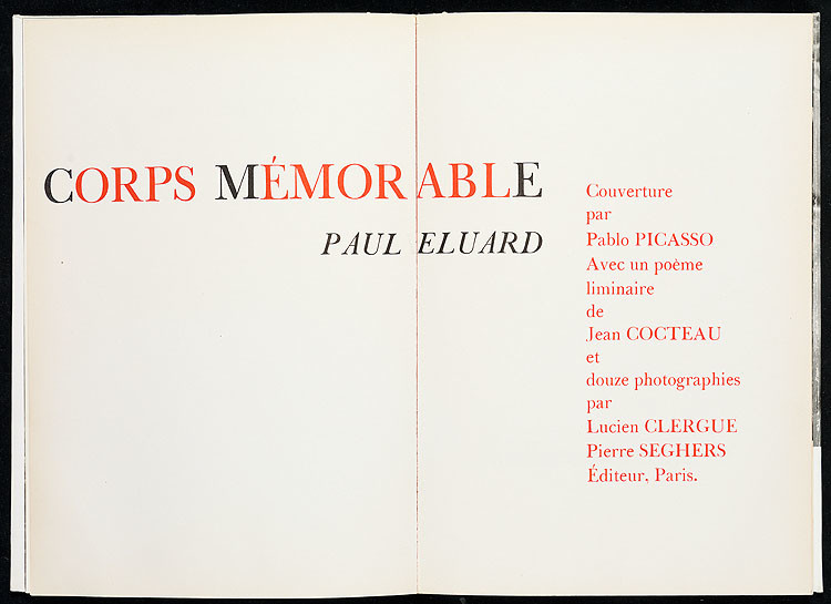 Corps Memorable: The first page of the first edition by Paul Eluard
