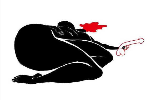 Black silhouette of a female who shot herself with a phallus-shaped gun