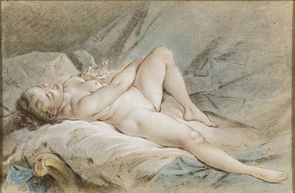 Venus with Doves, sketch. by François Boucher