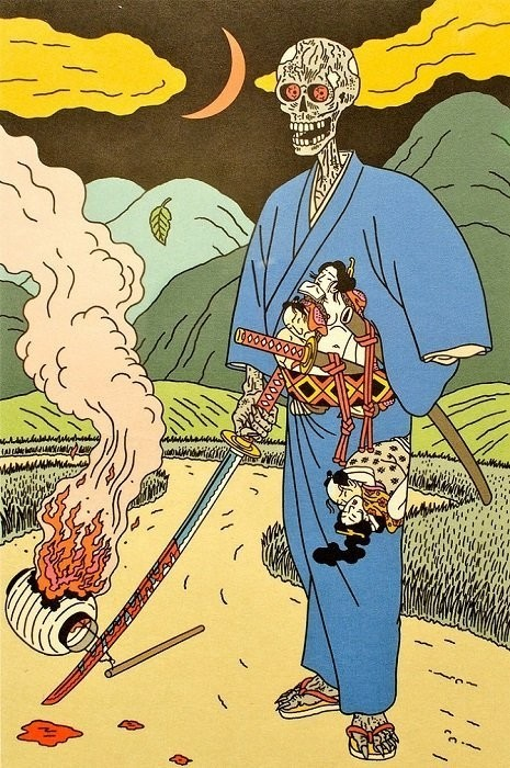skeleton sporting a kimono with tiny copulating figures in his belt and a burning lantern by Toshio Saeki